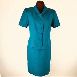 LESLIE FAY. 2Pcs Suit SZ 6P Aqua Green 011